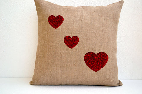 Handmade burlap pillow cover with red sequin