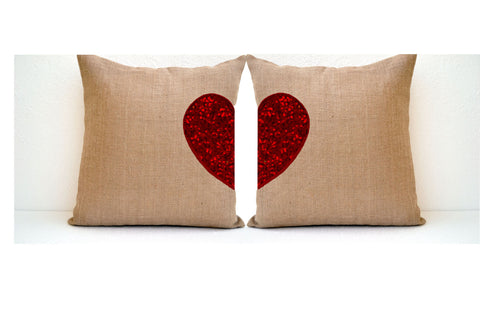 Handmade heart pillow covers with sequin