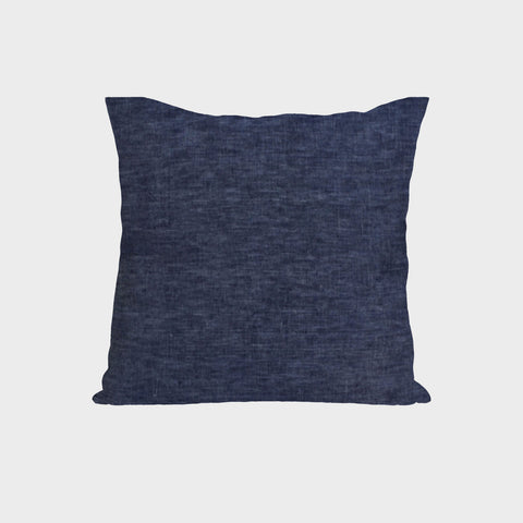 Handmade blue linen cushion cover with zipper