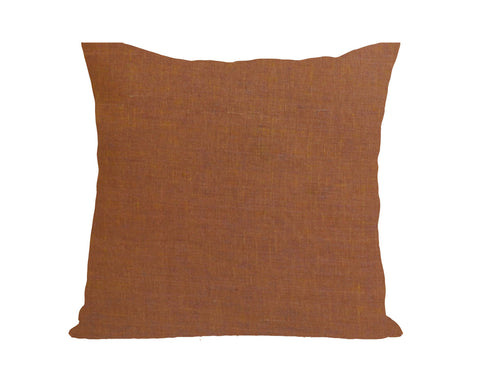 Handmade muddy orange linen throw pillow