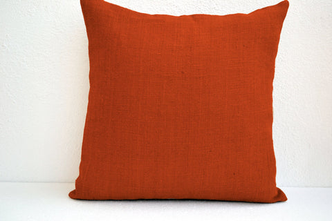 Handmade orange burlap pillow cover