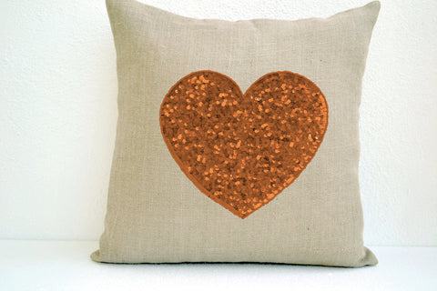 Handmade burlap ivory heart pillow cover with gold sequin