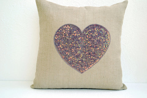 Handmade off-white heart pillow cover with heart sequin