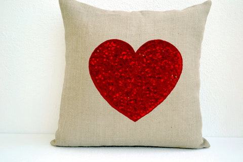 Handmade off-white pillow covers with red heart sequin