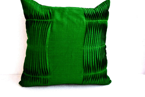 Handmade emerald green accent pillows with pleats