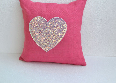 Handmade burlap pink pillow with sequin