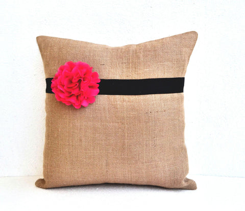 Handmade burlap pink pillow cover with hot blossom