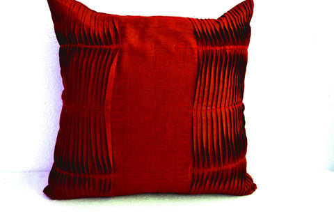 Handmade deep red decorative throw pillow cover in red cotton silk blend