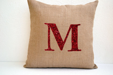 Handmade sequin throw pillow with monogram