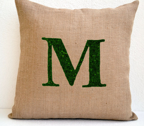 Handmade burlap throw pillows with monogram and sequin