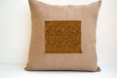 Handmade burlap cushion cover with gold sequin and beads