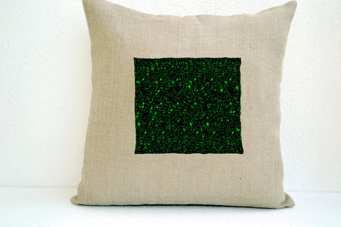 Handmade ivory burlap pillow cover with sequin and beads