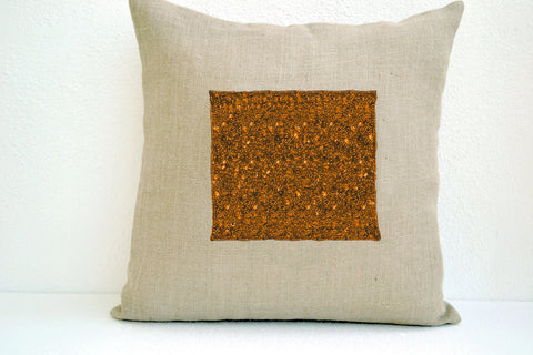 Handmade burlap ivory pillow cover with royal jewels in gold sequin and beads