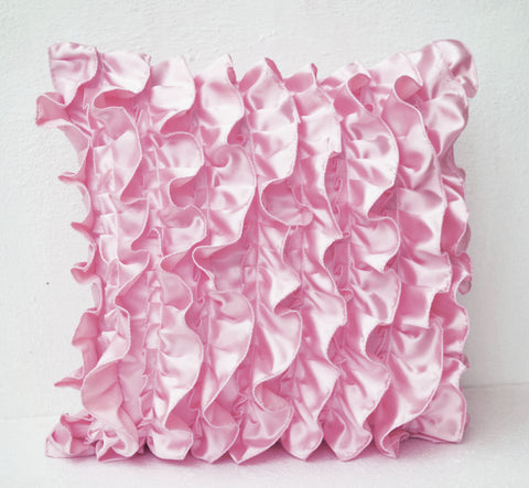 Handmade pink satin throw pillow with ruffles