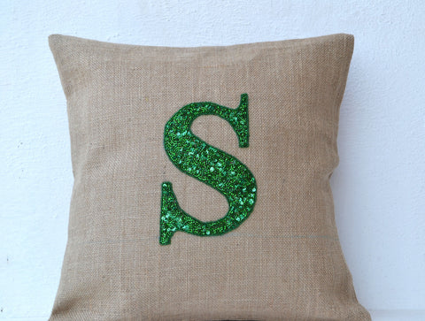 Handmade burlap throw pillow with sequin and monogram