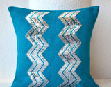 Handmade burlap blue accent toss pillow cover with silver chevron sequin