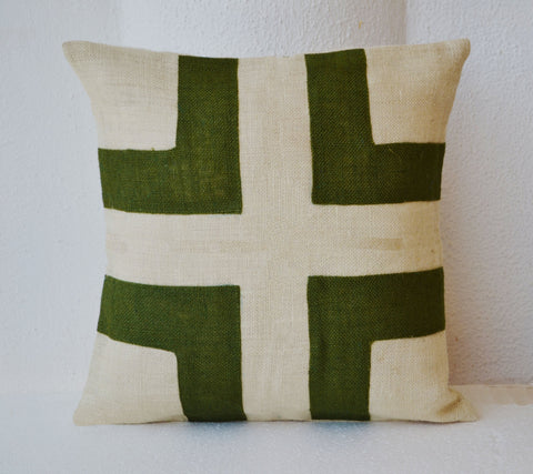 Handmade burlap cream cushion cover with green applique
