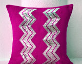 Handmade burlap pillow cover with shiny silver chevron pattern
