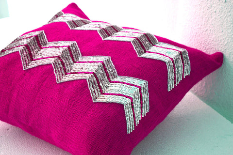 Handmade fuchsia pillow cover with silver sequin and chevron pattern