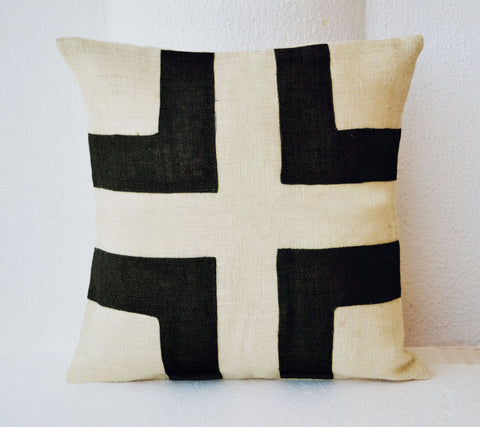 Handmade ivory white burlap pillow with black applique