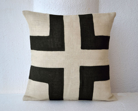 Handmade burlap cream pillow cover with black applique