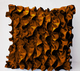 Handmade brown satin throw pillow with ruffles