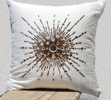 Handmade white silk throw pillow with mirror embroidery