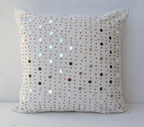 Handmade white mirror silk throw pillow