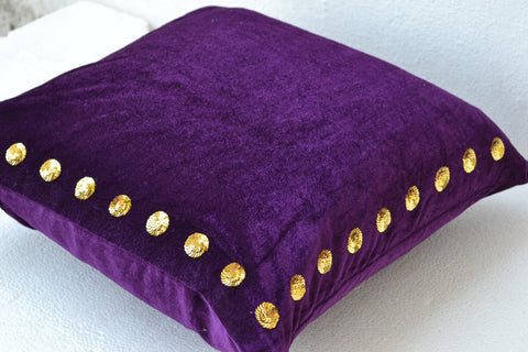 Handmade purple throw pillow cover in velvet