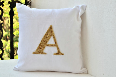 Handmade personalized pillow cover with gold sequin