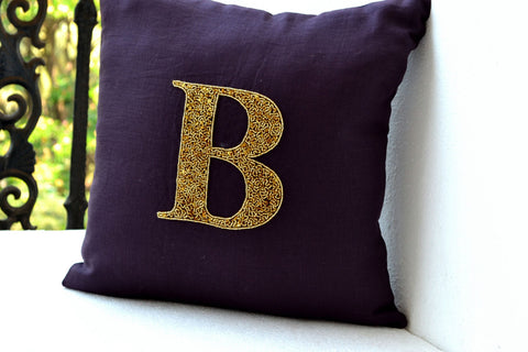 Handmade linen pillows with gold sequin and monogram