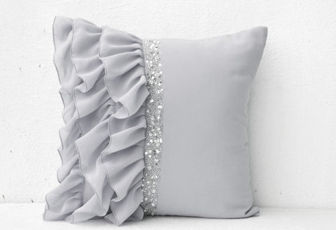 Handmade gray throw pillow with sequin and ruffles