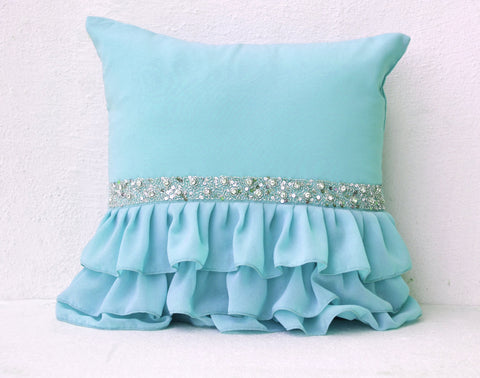 Handmade sky blue throw pillow with ruffles and sequin