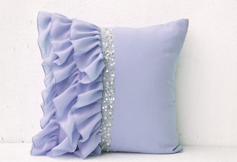 Handmade lilac throw pillow with ruffles and sequin