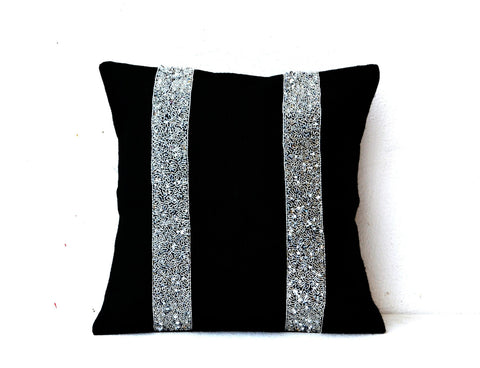 Handmade black burlap throw pillow with silver sequin