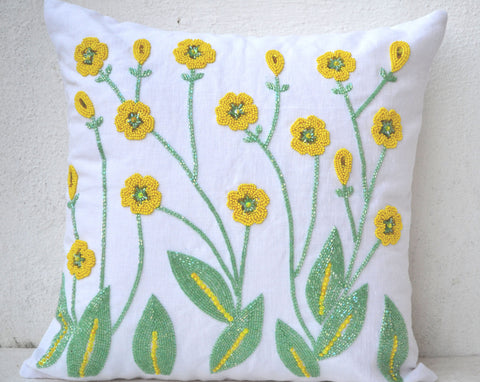 Handmade throw pillows with floral sequin and beads