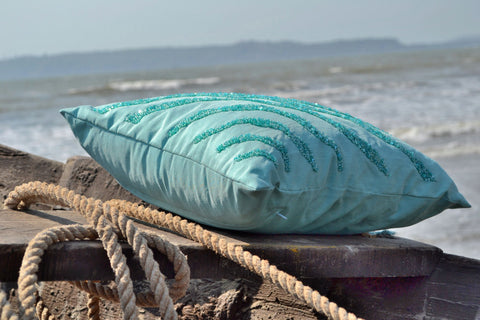 Handmade teal throw pillow with sea waves silk sequin