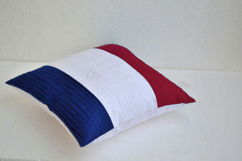 Handmade American flag colored throw pillow cases with pleats