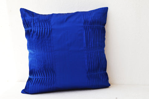 Handmade royal blue cotton silk throw pillow cover