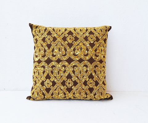 Handmade brown gold silk throw pillow with glitter