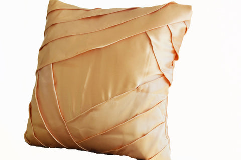 Handmade gold satin throw pillow with pleats