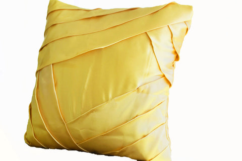 Handmade throw pillow with yellow satin pleats