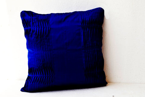 Handmade navy blue cotton silk throw pillow.
