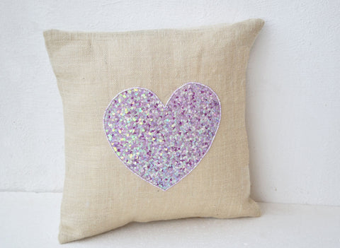 Handmade off-white burlap heart pillow with sequin