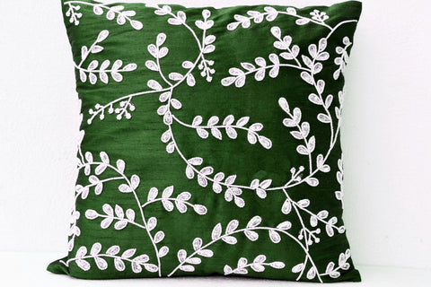 Handmade emerald throw pillow with bead sequin