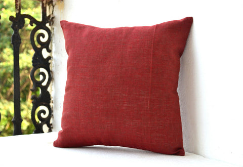 Handmade muddy red cushion cover