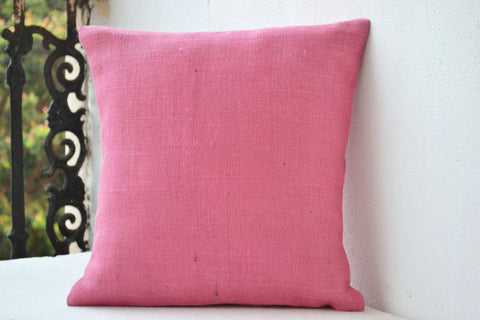 Handmade pretty pink premium burlap pillow and cushion covers