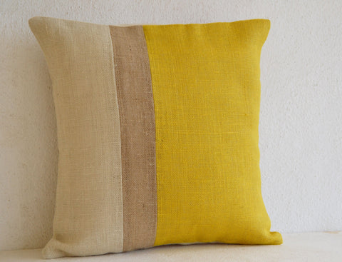 Handmade yellow throw pillow with color block, beads and sequin