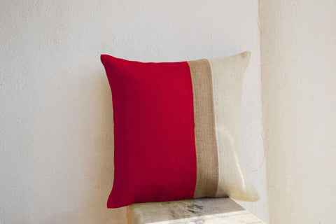 Handmade red burlap pillow cover with color block