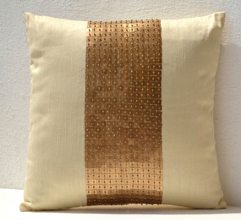 Handmade gold cream silk throw pillow cover